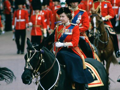 The Queen rides at Trooping the Colour in 1981