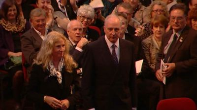 Paul Keating, the 24th Prime Minister of Australia, arrives.