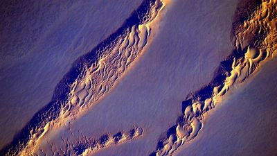 A photograph of desert dunes taken by Mr Kelly from his year in space. (Twitter/@StationCDRKelly)