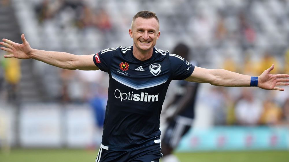 Melbourne Victory's Besart Berisha scored a goal in each half in the win over Central Coast Mariners. (AAP)