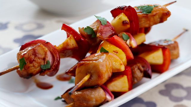 Pork and apple kebabs