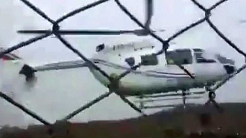 Evo Morales was unharmed when his helicopter hit the ground hard.