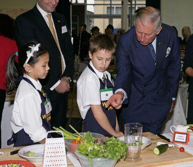 Prince Charles cookery demo school children
