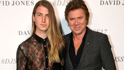Christian Wilkins (left) and Richard Wilkins arrive for the David Jones Spring Summer 2017 collection launch in Sydney on Wednesday, August 9, 2017