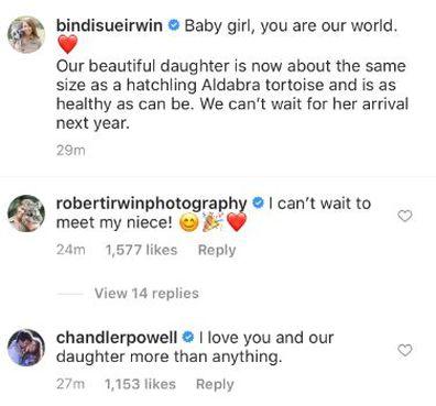Robert Irwin congratulates sister Bindi on Instagram.