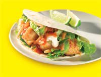Skewered chicken soft taco