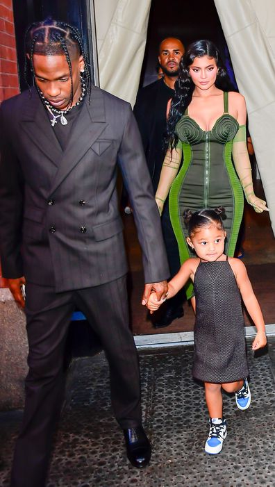 Travis Scott, Kylie Jenner and their daughter Stormi Webster are seen on June 15, 2021 in New York City.