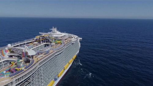 Royal Caribbean's newest mammoth cruise liner, the Symphony Of The Seas, launches on its maiden voyage this weekend. Picture: 9NEWS.