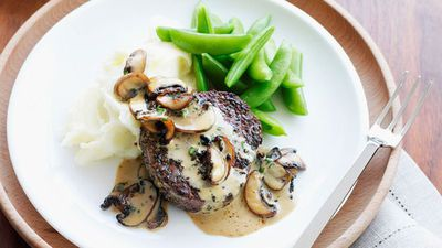 "Recipe:&nbsp;<a href=""http://kitchen.nine.com.au/2016/05/16/13/49/pepper-steaks-with-mushroom-sauce-and-creamy-mash"" target=""_top"" draggable=""false"">Pepper steaks with mushroom sauce and creamy mash</a>"