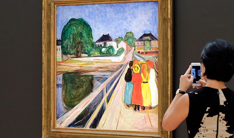 """Edvard Munch's """"Girls on the Bridge"""" has sold for $72 million in New York, the second-highest auction price paid for a work by the Norwegian painter. (AAP)"""