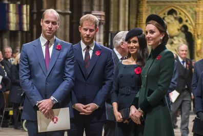 (FILE PHOTO) Prince Harry, Duke of Sussex and Meghan, Duchess Of Sussex have announced they are to step back as Senior Royals and say they want to divide their time between the UK and North America. LONDON, ENGLAND - NOVEMBER 11: Prince William, Duke of Cambridge and Catherine, Duchess of Cambridge, Prince Harry, Duke of Sussex and Meghan, Duchess of Sussex attend a service marking the centenary of WW1 armistice at Westminster Abbey on November 11, 2018 in London, England.