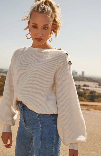 """<a href=""""https://www.glassons.com/clothing/knitwear/knit-jumpers/boat-neck-button-knit-KL37879KNT?c=MILK"""" target=""""_blank"""" title=""""Glassons Boat Neck Button Knit"""">Glassons Boat Neck Button Knit</a>, $49.99"""