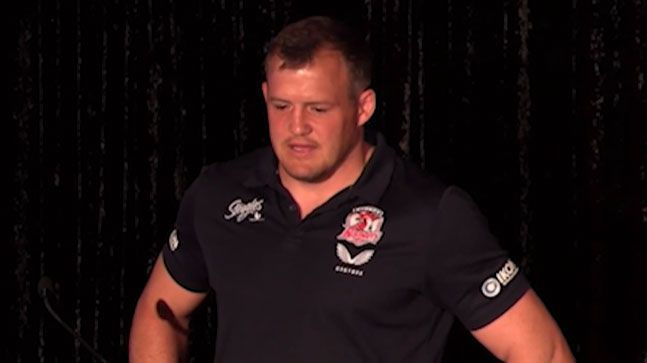 Josh Morris gives a speech at the Roosters' presentation night. Image courtesy of Sydney Roosters.