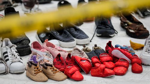 Tiny shoes belonging to children were among the debris collected after Lion Air Flight 610 plunged into the sea.