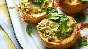 Cheesy artichoke rice stuffed pumpkins
