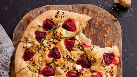 Strawberry, basil and goat's cheese focaccia