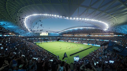 An artist's impression of what the re-built stadium would look like.