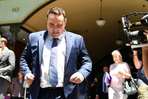 Ben McCormack leaves the Downing District Court today. (AAP)