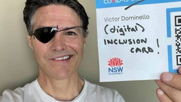 A photo posted on Facebook by Victor Dominello shows the eye patch he is wearing to prevent infection.