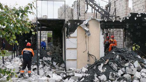 The scene in Litochky village about 60 km from Kiev, Ukraine. (AP)
