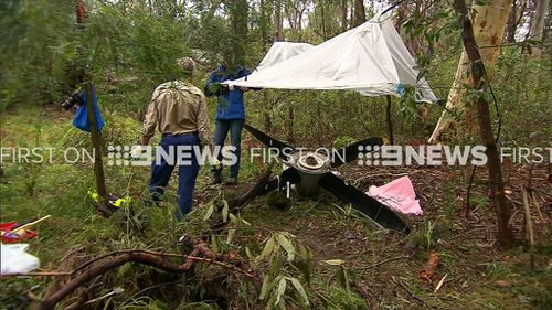 Police officers established a crime scene around the propeller yesterday and had it guarded overnight. (9NEWS)