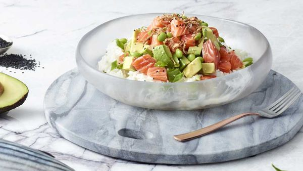 Poku's salmon and avocado 'salmocado' poke bowl