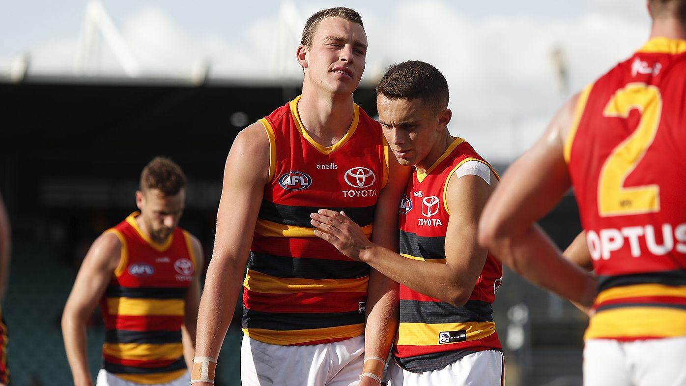 Hawthorn ruins Riley Thilthorpe's record-breaking AFL debut for Adelaide Crows
