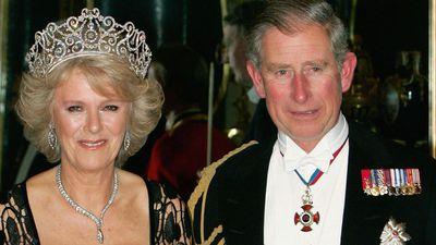 Prince Charles and Camilla wearing a tiara