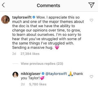 Taylor Swift, Nikki Glaser, apology, Instagram, post, body shaming