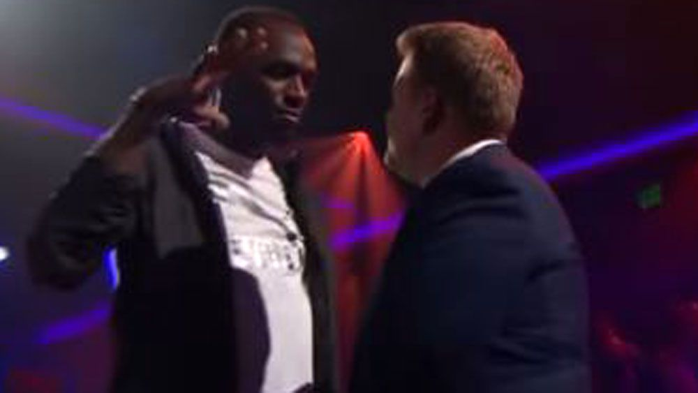 Usain Bolt lowers the boom on James Corden in rap battle