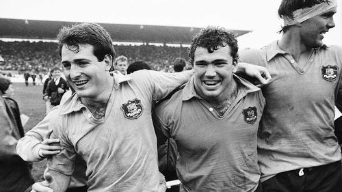 The Wallabies celebrating their win over New Zealand at Eden Park in 1986, their most recent win at the venue.