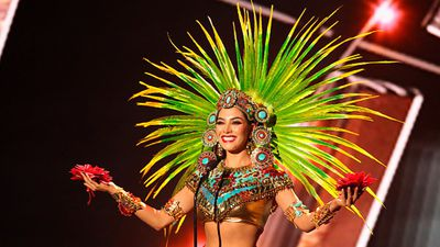 Miss Mexico Wendy Esparza in the national costume competition. (Getty)