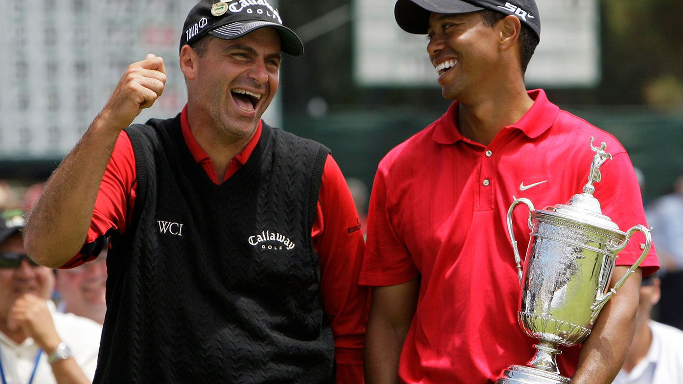 Rocco Mediate (left) and Tiger Woods
