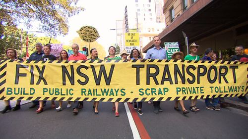 Hundreds of protesters marched through the Sydney CBD today. (9NEWS)