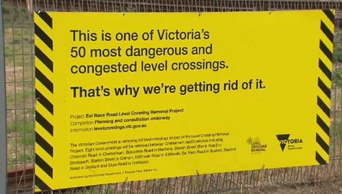 This sign can still be found at one of the level crossings, even though VicRoads doesn't consider it to be one of the 50 most dangerous in the state. (9NEWS)