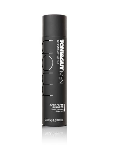 "<a href=""http://www.hairmeetwardrobe.com.au/product/detail/421145/deep-clean-shampoo"" target=""_blank"">TONI&GUY Hair Care Men Deep Clean Shampoo, $15.99.</a>"