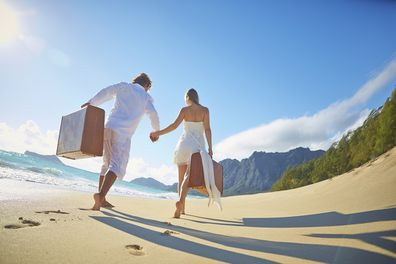 Couple on a holiday at a beach location