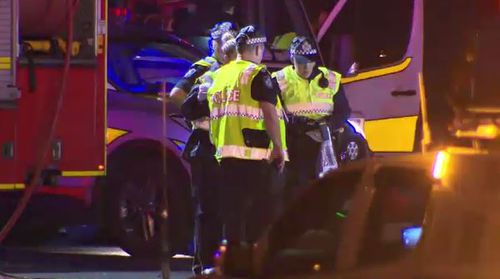 Police were called to a chaotic scene at Moorooka. Picture: 9NEWS