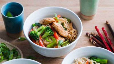 "Recipe: <a href=""http://kitchen.nine.com.au/2017/01/30/13/58/honey-soy-and-garlic-chicken-noodles"" target=""_top"">Honey, soy and garlic chicken noodles</a>"