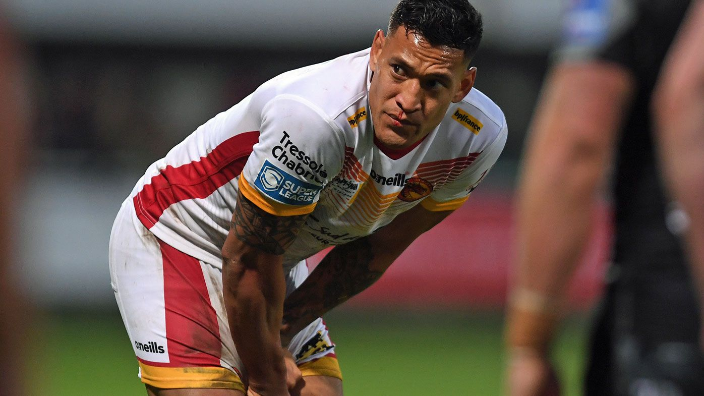 Israel Folau during the Betfred Super League match between Catalans Dragons and Castleford Tigers at Stade Gilbert Brutus