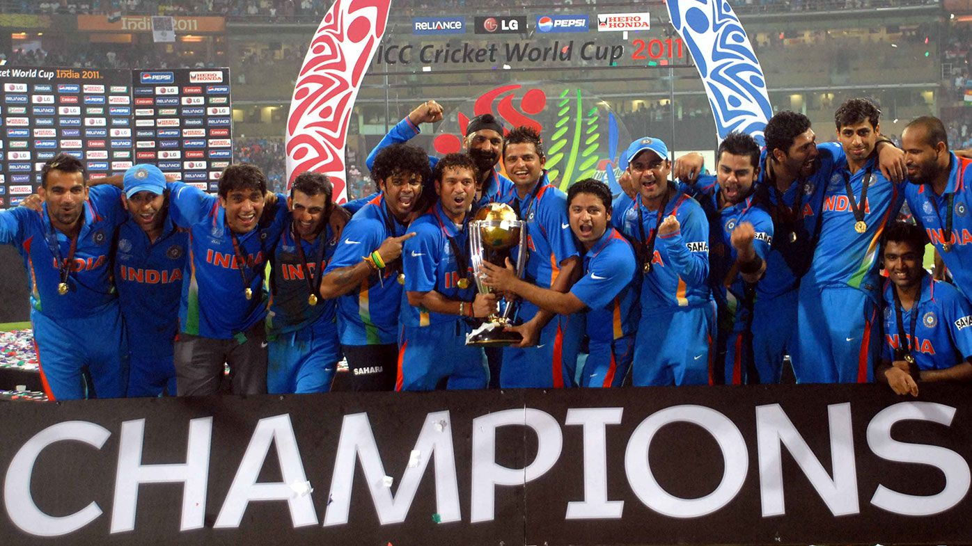 India celebrates its victory at the 2011 Cricket World Cup final.