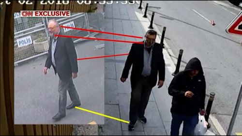 CNN has aired video which appears to show a body double wearing journalist Jamal Khashoggi's clothes after he was killed.