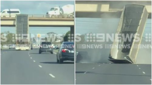 The large truck slammed into the bridge just after midday. (9NEWS)
