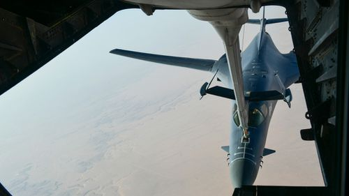 A US Air Force B-1 Bomber en route to strike chemical weapons targets in Syria. (AP)