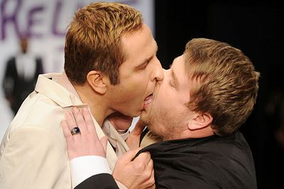 Judging by the awkwardness of this kiss, we're not surprised to hear these guys are both straight.