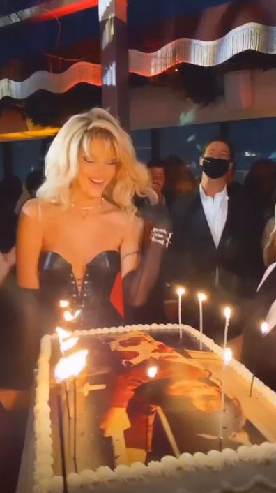 Kendal Jenner, 25th birthday party, Halloween party, channels Pamela Anderson, Barb Wire
