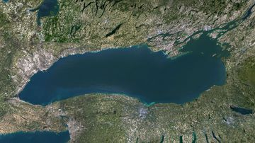 Satellite image of Lake Ontario, North America. Image collected on May 1, 2016 by Landsat 8 satellite.
