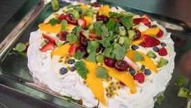 Luke Mangan's summer pavlova with brandy cream and fresh fruit recipe