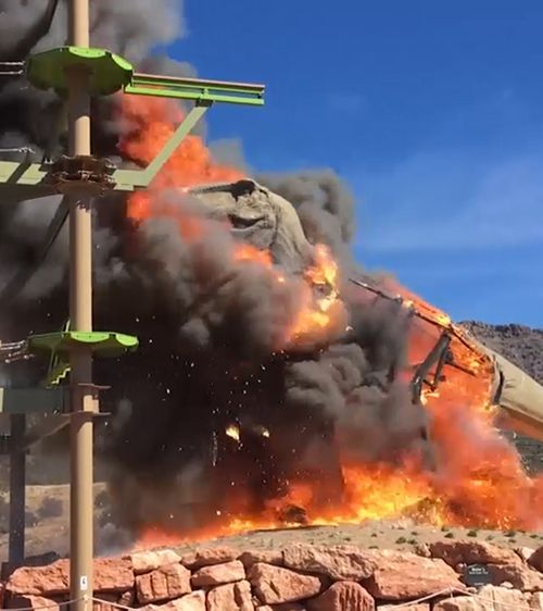 The T-Rex was set ablaze by a suspected electrical fault that turned it into a flaming inferno. Picture: ZACH REYNOLDS/ROYAL GORGE DINOSAUR EXPERIENCE.
