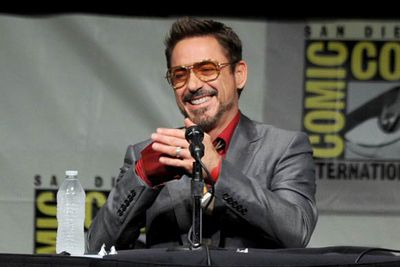 Robert Downey Jr, <i>Iron Man</i> arm and all.
